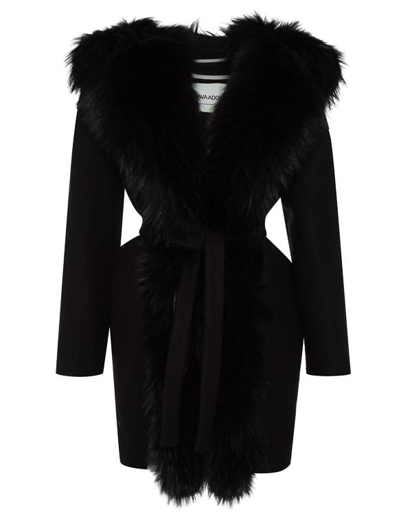 пальто полушерстяное с отделкой капюшона мехом енота артикул 02AAFW17 марки Ava Adore купить за 104300 руб.
