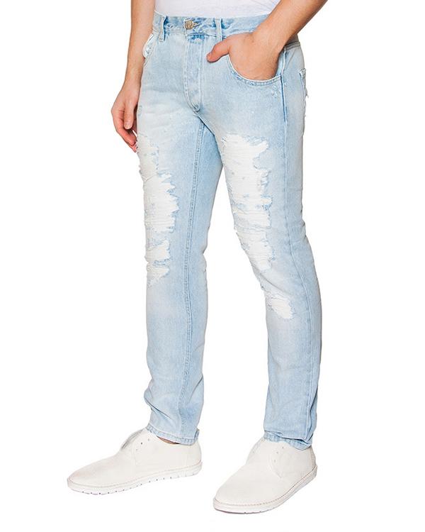 джинсы из плотного потертого денима артикул 03103PAULL30261 марки P.M.D.S купить за 8800 руб.