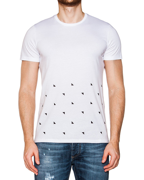 футболка из мягкого хлопкового трикотажа с вышитыми треугольниками артикул 03355CANVAS марки P.M.D.S купить за 4200 руб.