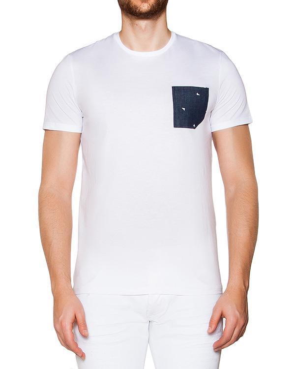 футболка из мягкого хлопкового трикотажа с накладным карманом из денима артикул 03364TASKBAND марки P.M.D.S купить за 3800 руб.