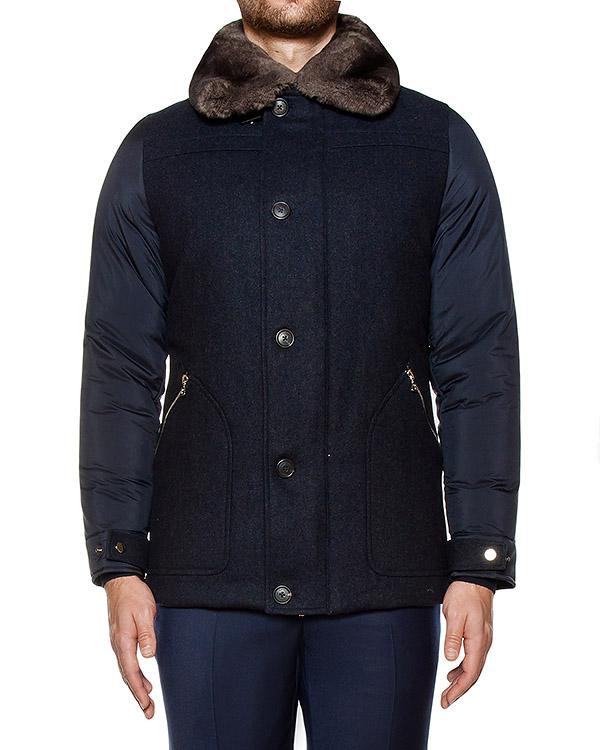 куртка комбинированная из шерсти и водонепроницаемой ткани; дополнен оторочкой из меха кролика и шиншиллы артикул 118613 марки Cortigiani купить за 102500 руб.