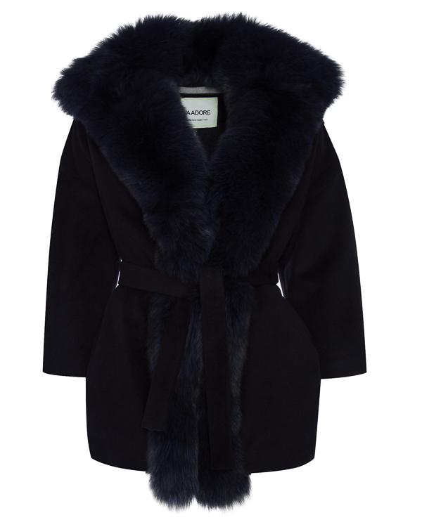 пальто из шерсти с отделкой мехом лисы артикул 11AAFW17 марки Ava Adore купить за 100100 руб.