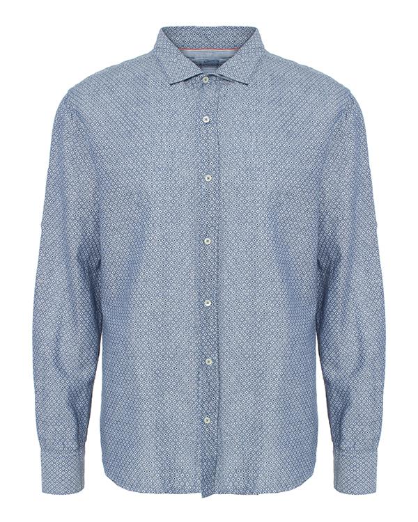 рубашка из натурального льна и хлопка с узором артикул 1281F098 марки 120% lino купить за 5900 руб.