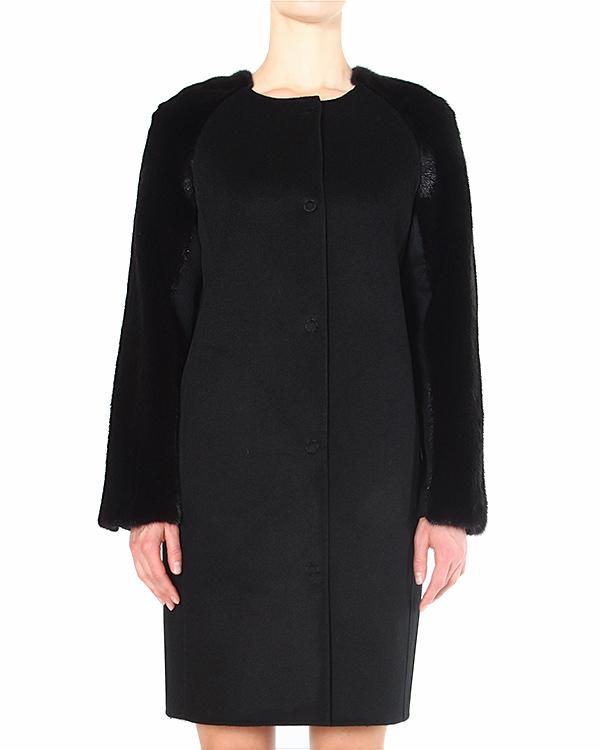 пальто с рукавами, отороченными искристым мехом норки артикул 14M026 марки Manzoni купить за 150200 руб.