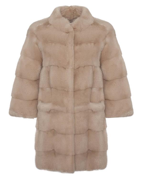 мех.пальто из мягкого искрящегося меха норки артикул 14M126 марки Manzoni купить за 178800 руб.