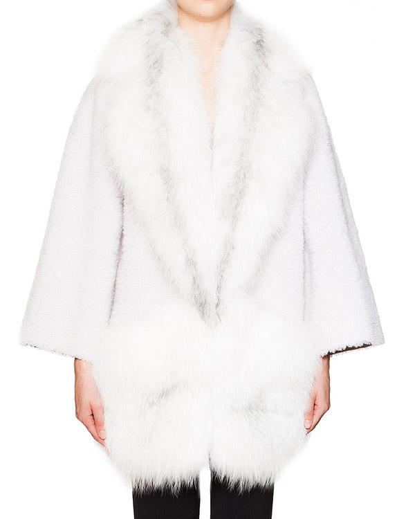 мех.пальто свободного кроя из новозеландской овчины с отделкой из меха песца артикул 15022NZVAM марки BLANCHA купить за 176300 руб.