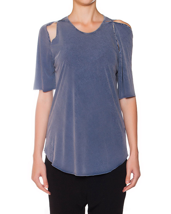 футболка из мягкого хлопка, декорирована вырезами на плечах артикул 15234180 марки Lost&Found купить за 10900 руб.