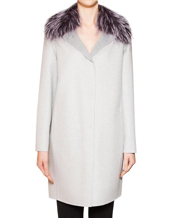 пальто из кашемира Loro Piana с воротником из натурального меха лисы артикул 15M247P марки Manzoni купить за 86500 руб.