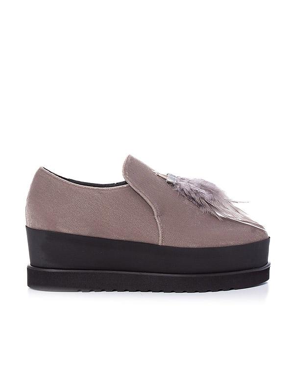 туфли из бархата, украшены перьями артикул 163VEL марки Lemat купить за 11600 руб.