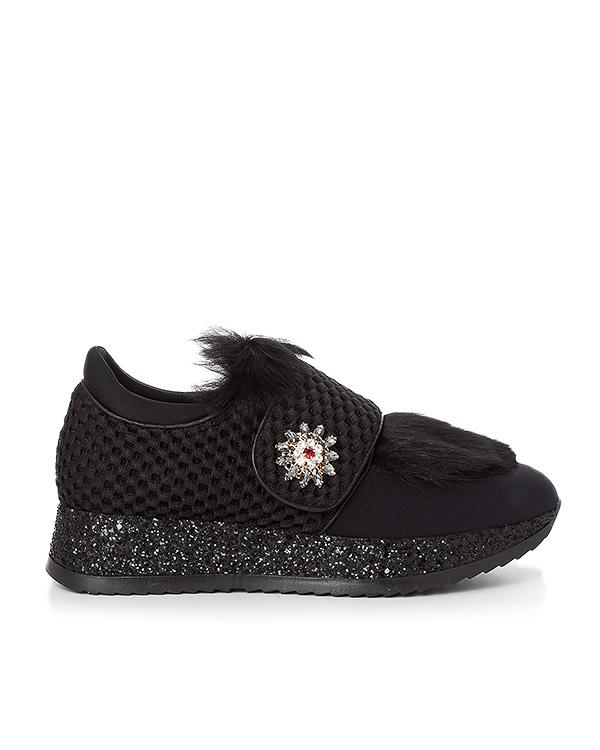 кроссовки из текстиля, украшены искусственным мехом и кристаллами артикул 164RMS марки Lemat купить за 12000 руб.