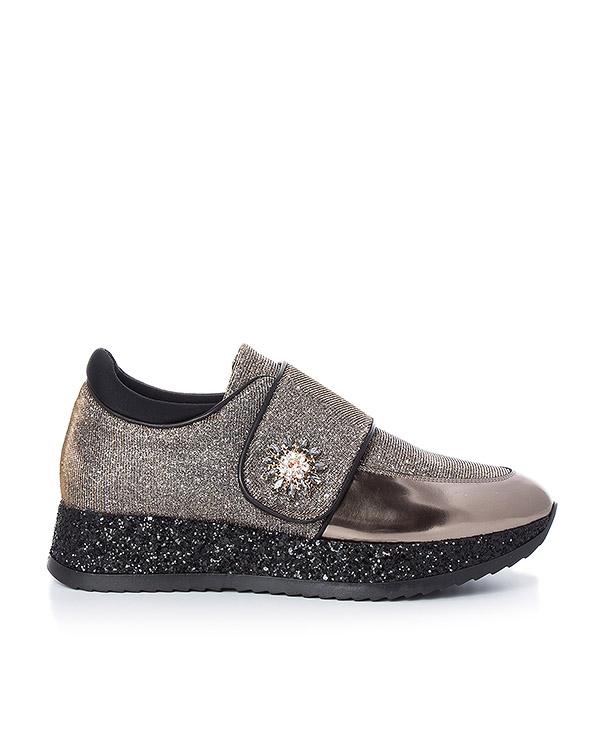 кроссовки из переливающегося текстиля, украшены блестками и кристаллами артикул 164TLN марки Lemat купить за 11600 руб.