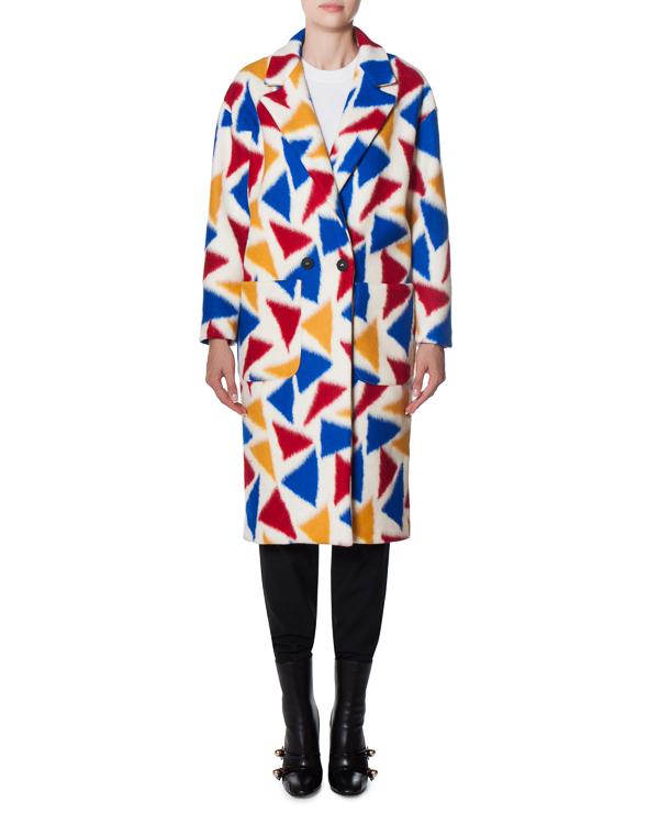 пальто из шерстяного микса с ярким принтом артикул 17FR05 марки Front Street 8 купить за 19900 руб.
