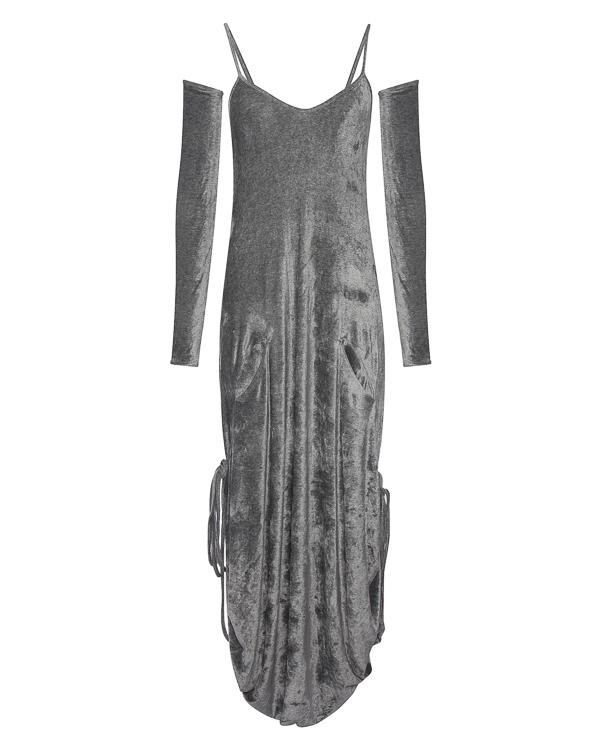 платье из бархата с отдельными рукавами-гловелеттами артикул 18WSYD44 марки Andrea Ya'aqov купить за 24700 руб.