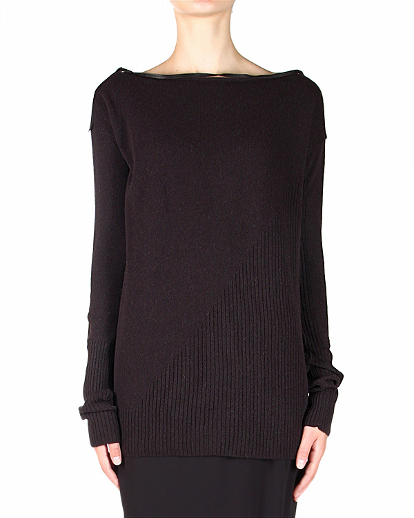 свитер прилегающего силуэта, с кожаными вставками на плечах и рукавах артикул 19QX374/5 марки ILARIA NISTRI купить за 11600 руб.