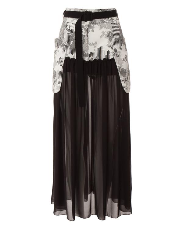 юбка из плотной фактурной ткани с принтом, дополнена полупрозрачной юбкой  артикул 1H9403 марки Antonio Marras купить за 15400 руб.