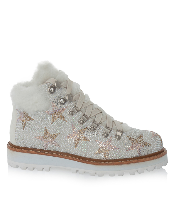 ботинки  из замши с мехом и кристаллами  артикул 209Z07BK марки Lola Cruz купить за 18700 руб.
