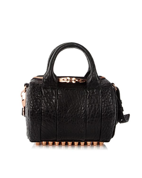 сумка из фактурной кожи с фирменными металлическими шипами артикул 20S0066 марки Alexander Wang купить за 33500 руб.
