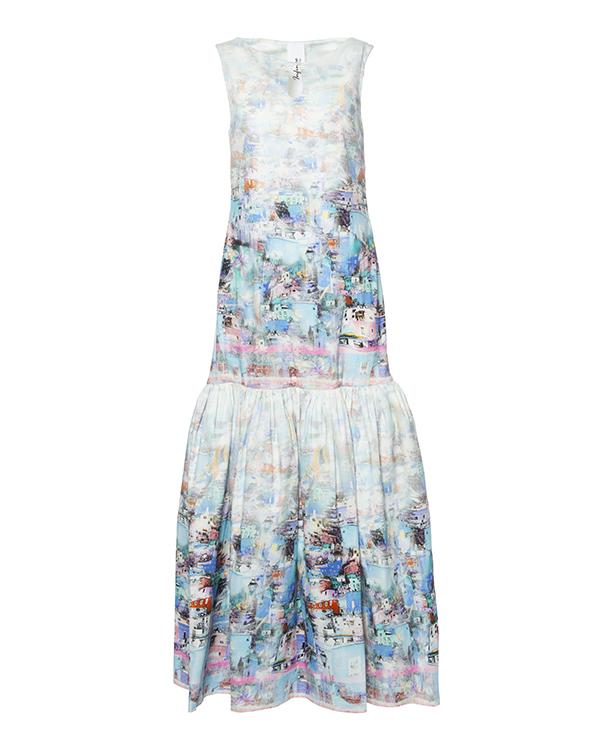 платье в пол с объемной юбкой; из плотного хлопка с ярким принтом артикул 210 марки Infinee купить за 17900 руб.