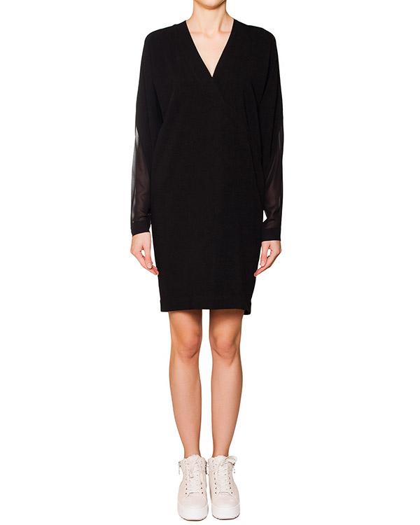 платье свободного кроя из плотной ткани с отделкой из прозрачного шелка артикул 21PAY760-7 марки ILARIA NISTRI купить за 29300 руб.