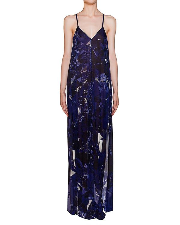 платье в пол из легкого полупрозрачного шелка с абстрактным принтом артикул 22AY929-20 марки ILARIA NISTRI купить за 16900 руб.