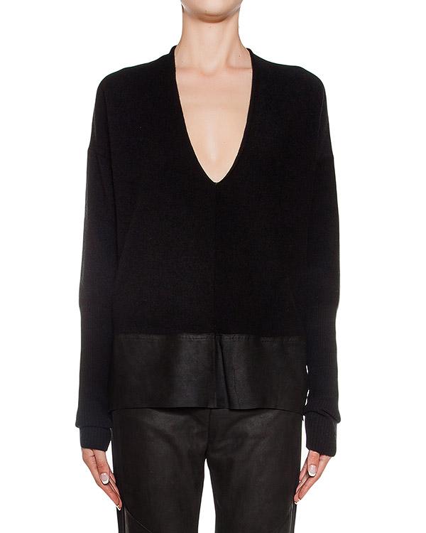 пуловер из шерсти и кашемира, дополнен вставкой из кожи артикул 23QX138-12 марки ILARIA NISTRI купить за 19300 руб.