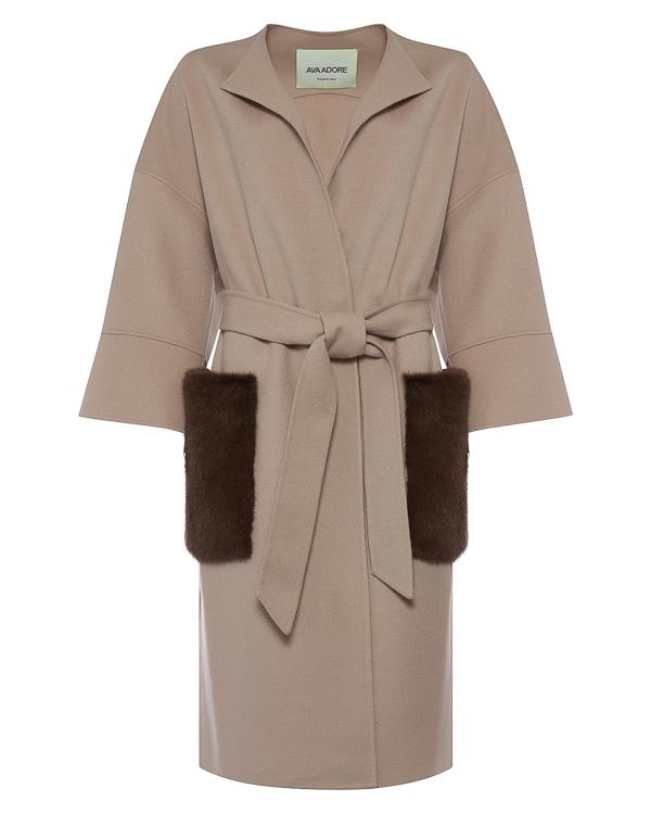 пальто из шерсти с меховой отделкой карманов артикул 26AAFW17 марки Ava Adore купить за 114600 руб.