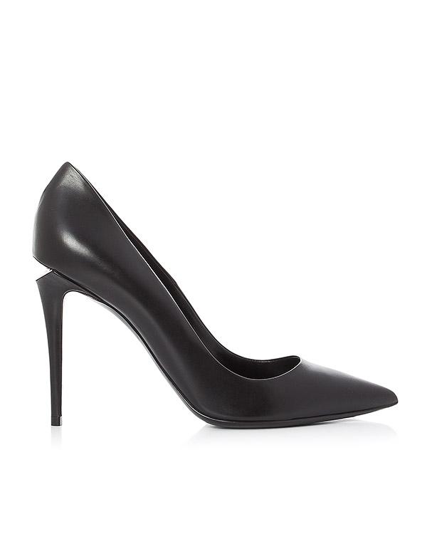 туфли из гладкой кожи с фирменным скошенным каблуком артикул 303129P16 марки Alexander Wang купить за 51200 руб.
