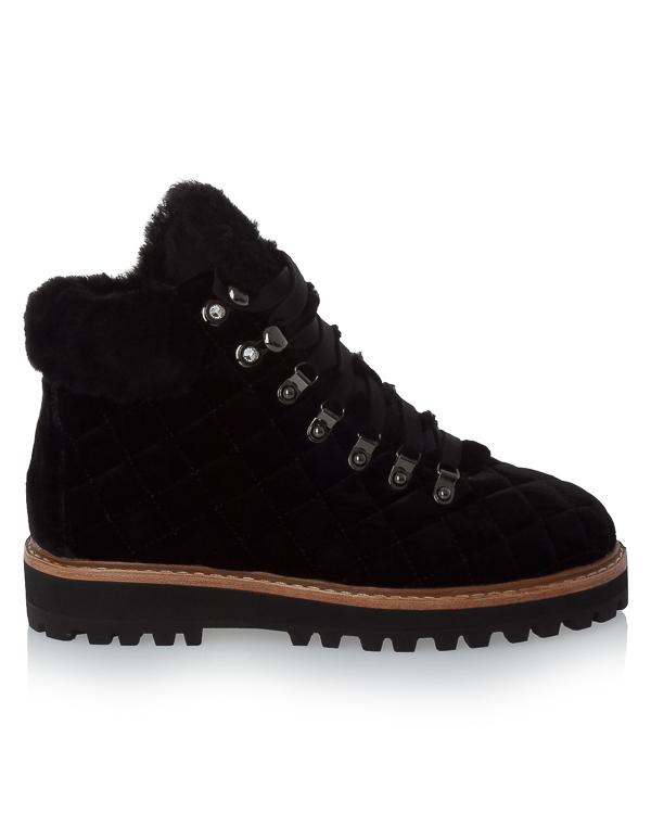 ботинки из стеганой кожи с отделкой мехом артикул 310T65BK марки Lola Cruz купить за 17200 руб.