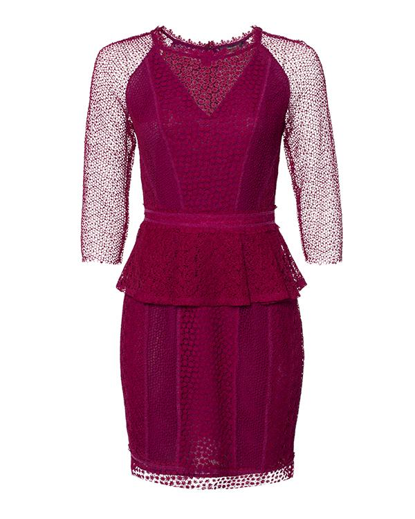 платье с баской и ажурным кружевом на рукавах артикул 31P4714S марки Marchesa Voyage купить за 26400 руб.