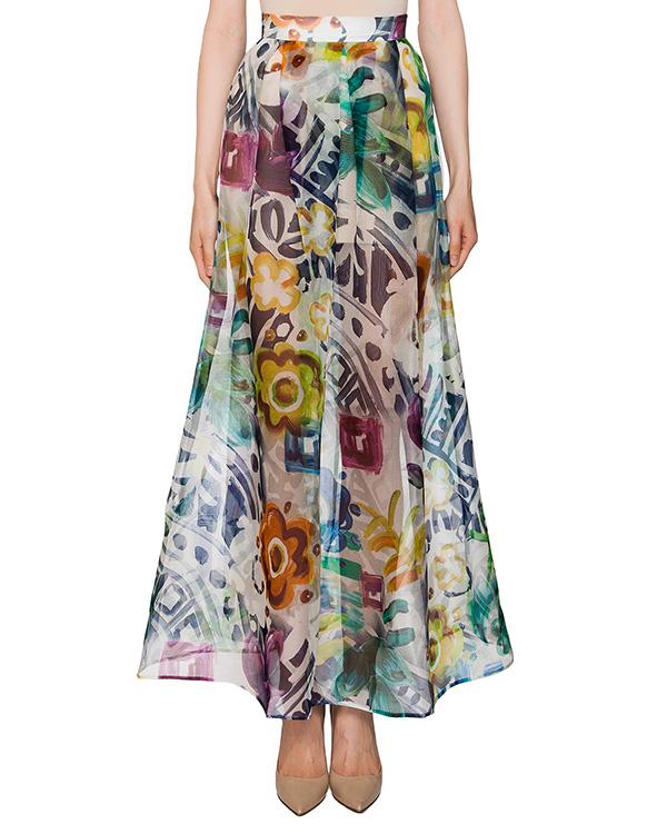 юбка в пол из полупрозрачного шелка с ярким принтом артикул 322IN марки Infinee купить за 13900 руб.