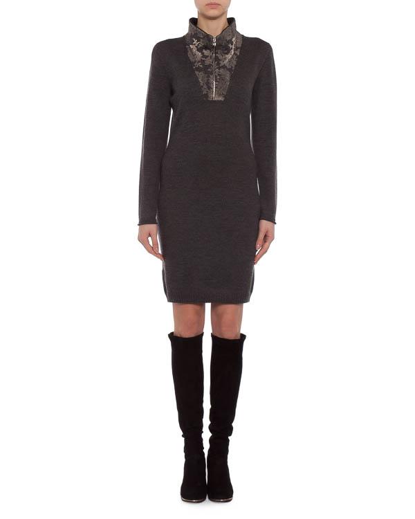 платье декорированное по вороту кружевом и эко-кожей  артикул 39361 марки D.EXTERIOR купить за 13900 руб.
