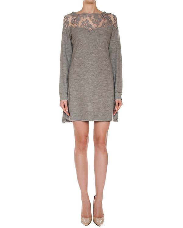 платье из трикотажной шерсти с отделкой кружевом артикул 39TAB55 марки ERMANNO SCERVINO купить за 34400 руб.