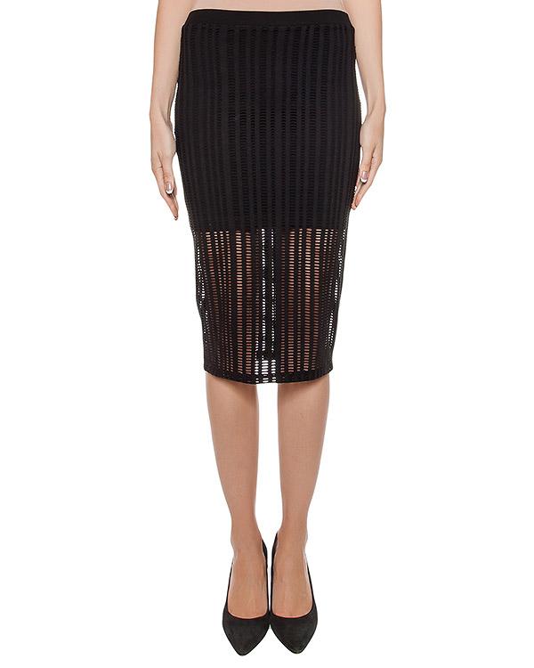 юбка из мягкого трикотажа с перфорацией артикул 400901P16 марки T by Alexander Wang купить за 8800 руб.