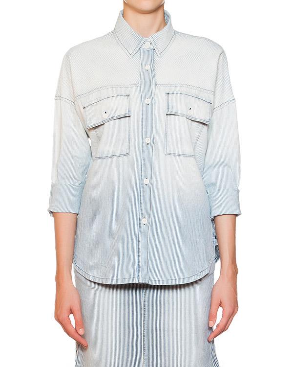 рубашка с укороченными рукавами из денима в тонкую полоску артикул 4014322S марки Koral купить за 12800 руб.