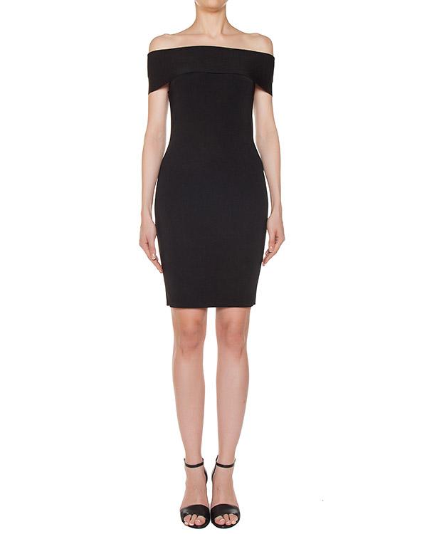платье из плотной эластичной ткани с открытыми плечами артикул 402411 марки T by Alexander Wang купить за 14900 руб.