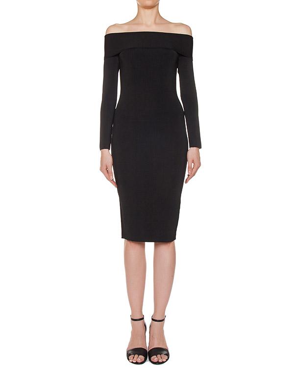 платье из эластичной ткани с открытыми плечами артикул 402415 марки T by Alexander Wang купить за 15800 руб.