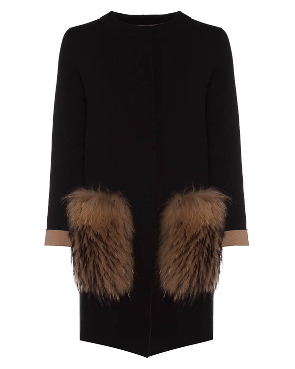 пальто из смеси шерсти, кашемира и вискозы с отделкой мехом артикул 45064 марки D.EXTERIOR купить за 72600 руб.
