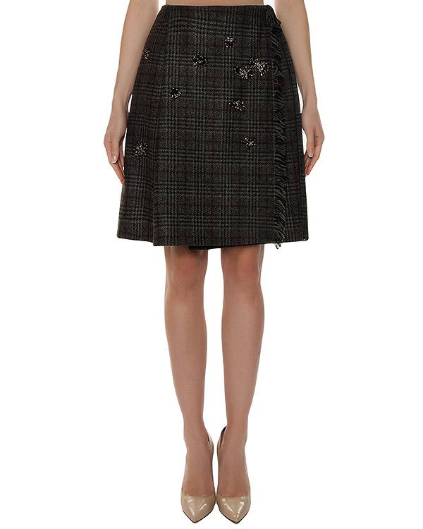 юбка на запах из шерсти с отделкой кристаллами артикул 4516 марки Dice Kayek купить за 42700 руб.
