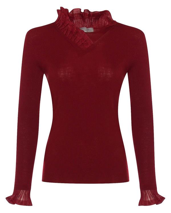 пуловер из тонкой шерсти с отделкой рюшами артикул 45365 марки D.EXTERIOR купить за 23000 руб.