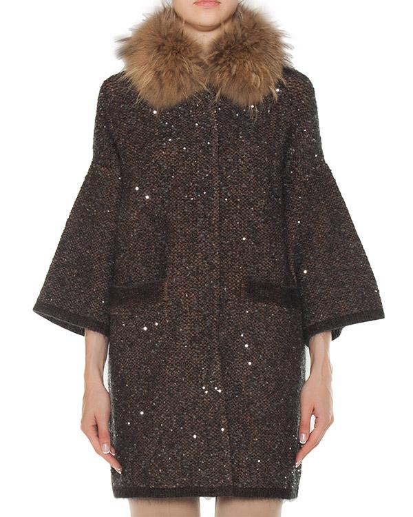 пальто из буклированной шерсти с отделкой пайетками артикул 45457 марки D.EXTERIOR купить за 72400 руб.