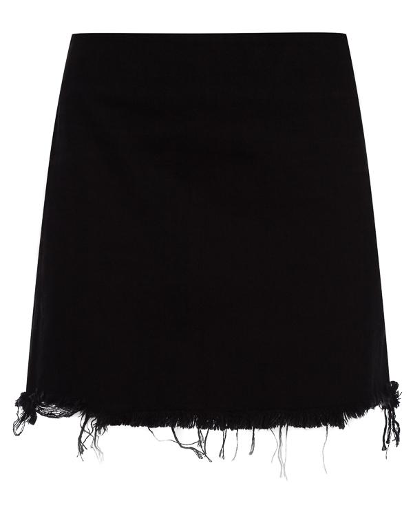 юбка мини из денима с необработанной линией низа артикул 4D275008AI марки T by Alexander Wang купить за 15000 руб.