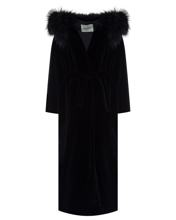 пальто из мягкого велюра с меховой отделкой капюшона артикул 51AAFW17 марки Ava Adore купить за 104300 руб.