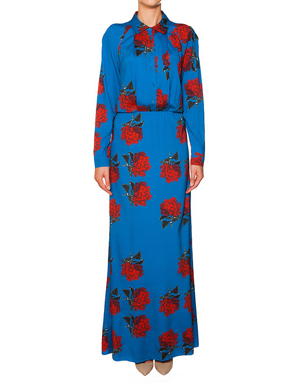 платье из тонкого шелка с ярким цветочным рисунком артикул 5203 марки Poustovit купить за 33300 руб.