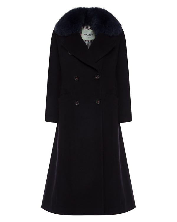 пальто из шерсти с меховой отделкой воротника артикул 56AAFW17 марки Ava Adore купить за 95900 руб.