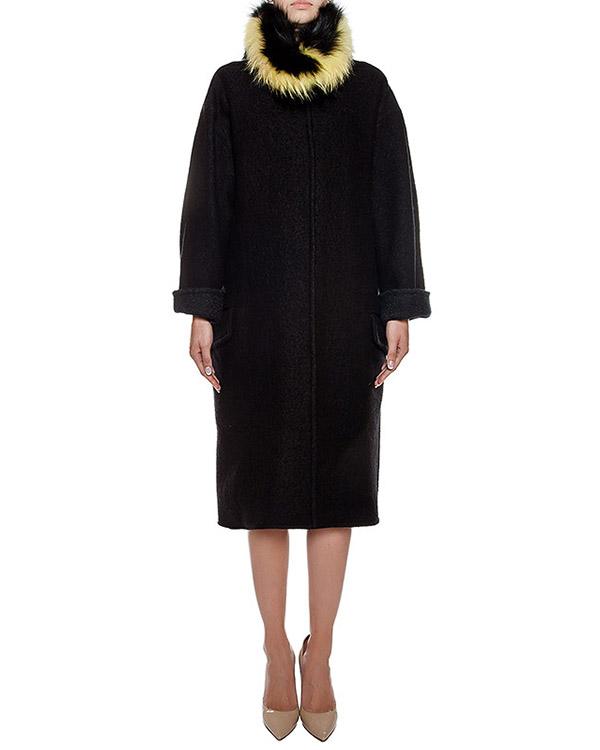 пальто из плотной полушерстяной ткани с оторочкой из натурального меха артикул 57AAFW16 марки Ava Adore купить за 64500 руб.