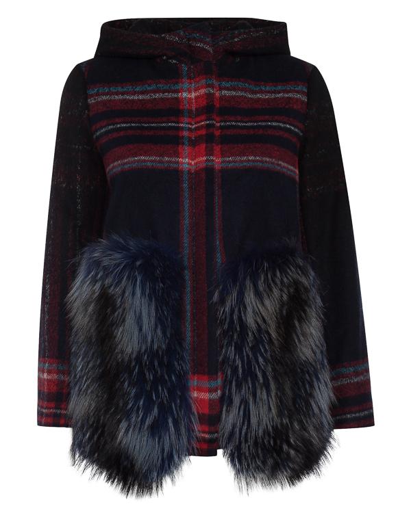 пальто из шерсти с отделкой мехом енота  артикул 62AAFW17 марки Ava Adore купить за 97800 руб.