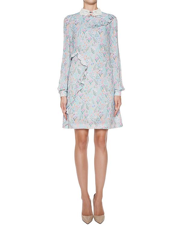 платье из легкой ткани с цветочным рисунком, декорировано оборками и фирменным воротником артикул 64VV501 марки VIVETTA купить за 17000 руб.