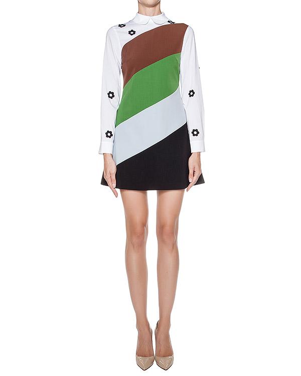платье с контрастной отделкой и аппликациями в виде цветов артикул 64VV521 марки VIVETTA купить за 17000 руб.