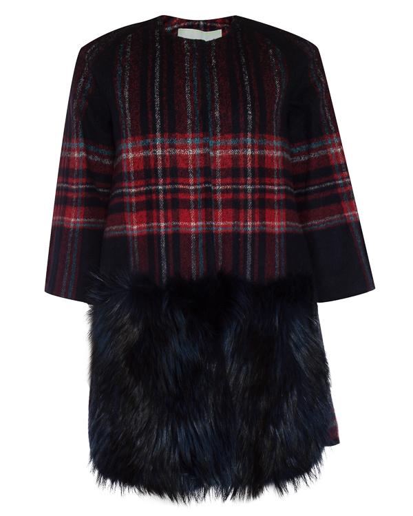 пальто из шерсти с отделкой мехом енота артикул 65AAFW17 марки Ava Adore купить за 104300 руб.