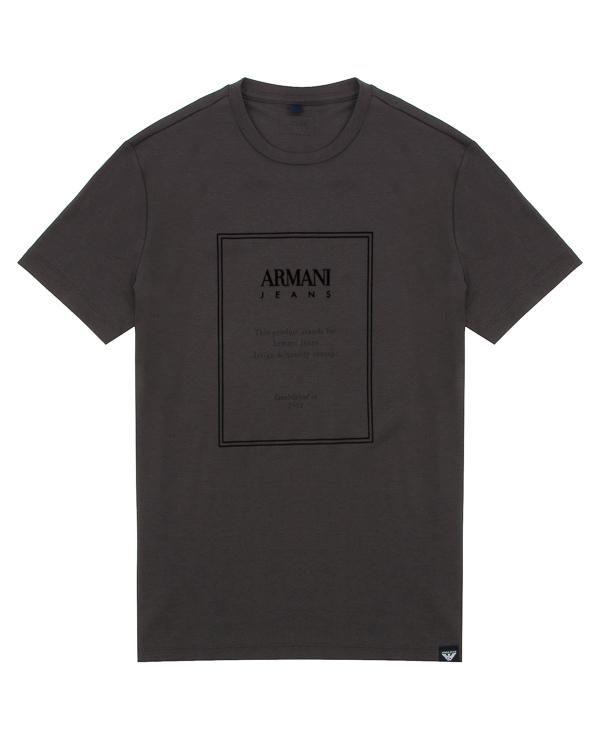 футболка прямого силуэта из хлопка  артикул 6Y6T64 марки ARMANI JEANS купить за 5900 руб.